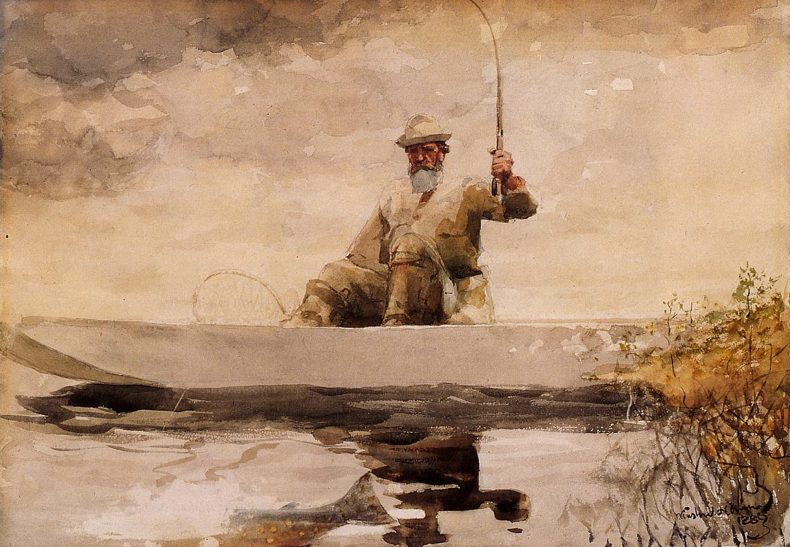 Fishing in the Adirondacks | Winslow Homer | oil painting