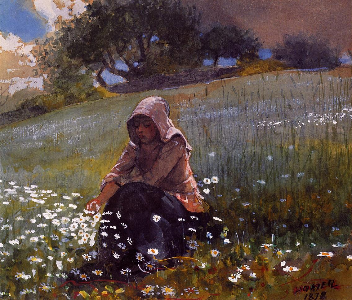 Girl and Daisies | Winslow Homer | oil painting