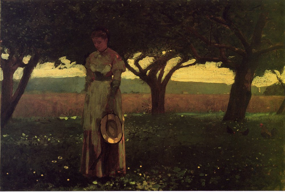 Girl in the Orchard | Winslow Homer | oil painting