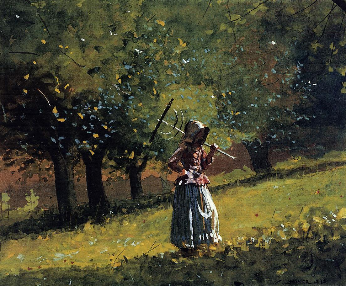 Girl with a Hay Rake | Winslow Homer | oil painting