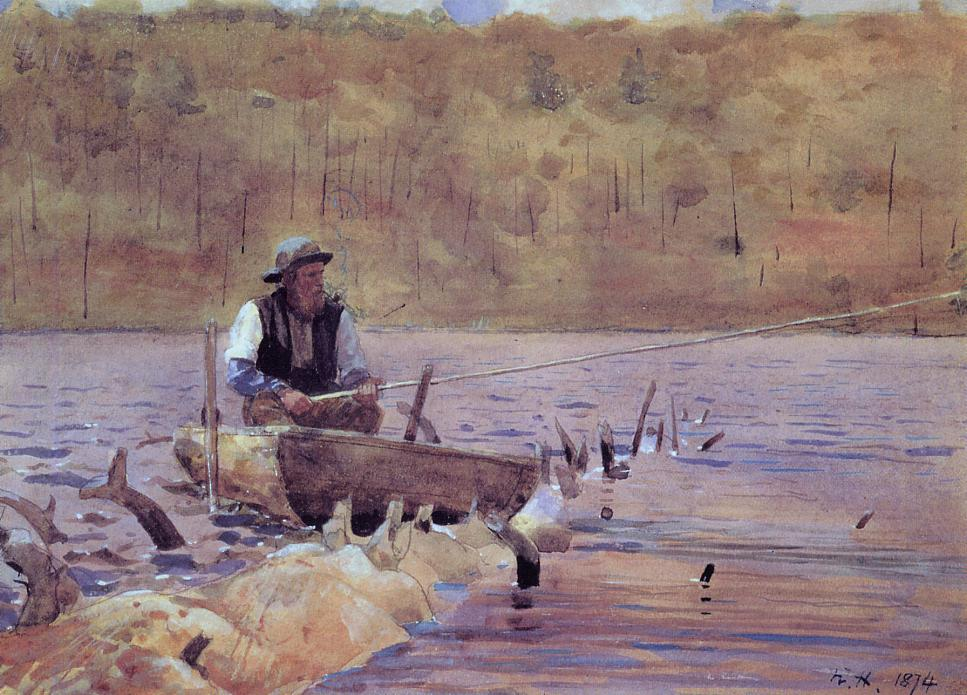 Man in a Punt Fishing | Winslow Homer | oil painting