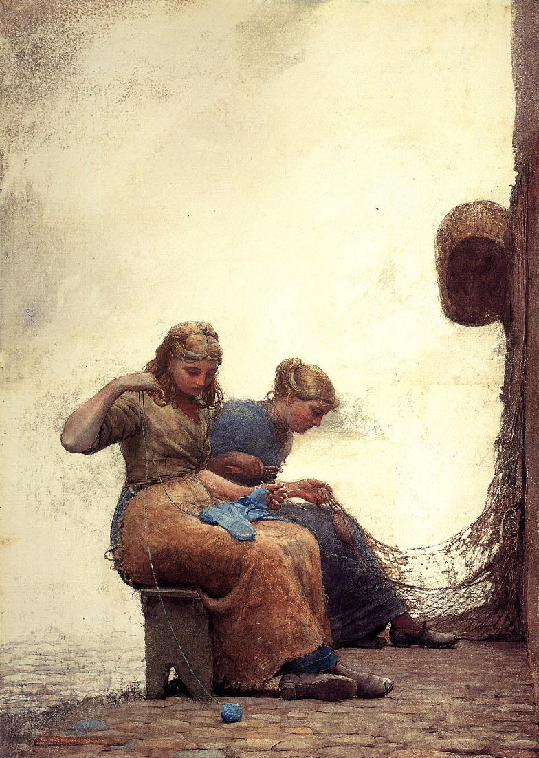 Mending the Nets | Winslow Homer | oil painting