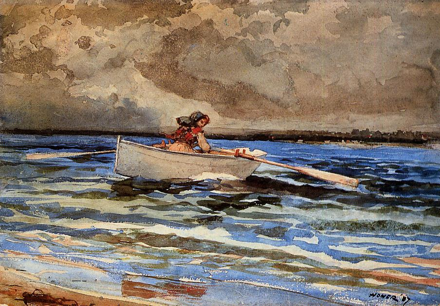 Rowing at Prout's Neck | Winslow Homer | oil painting