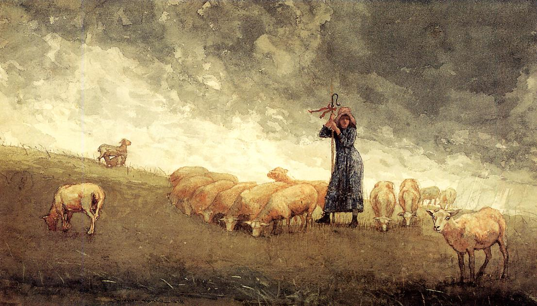 Shepherdess Tending Sheep | Winslow Homer | oil painting