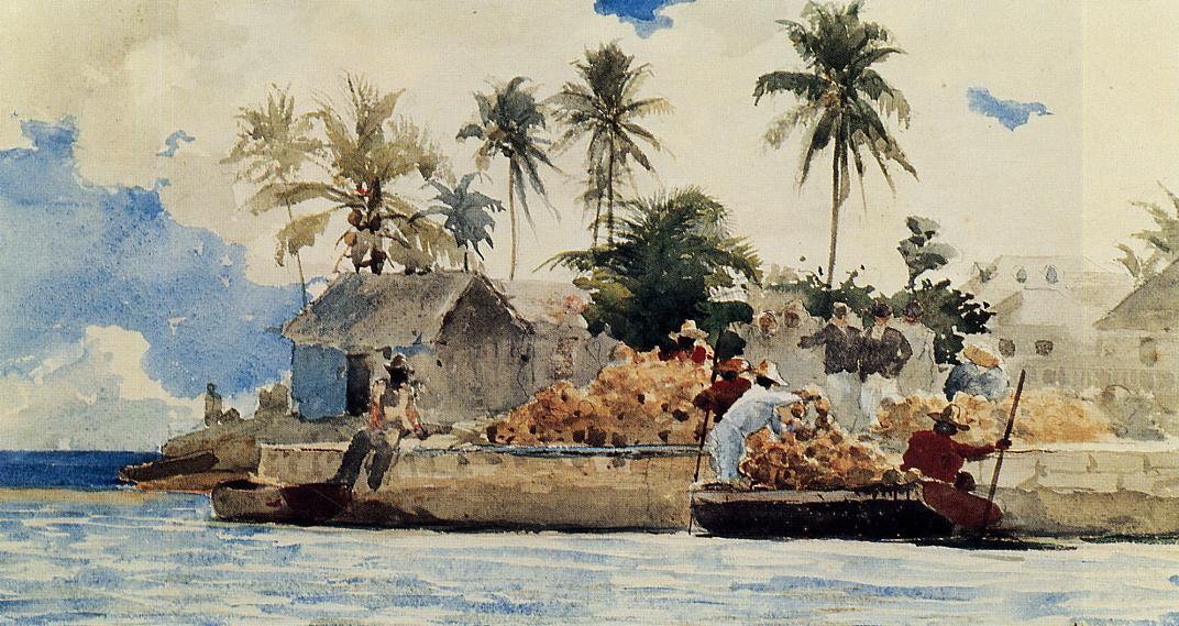 Sponge Fishing Nassau | Winslow Homer | oil painting