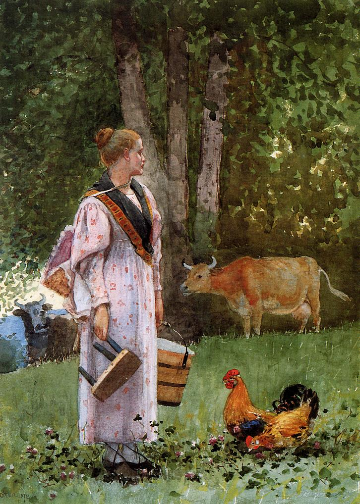 The Milk Maid | Winslow Homer | oil painting