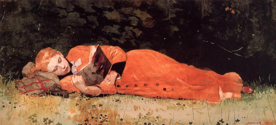 The New Novel | Winslow Homer | oil painting