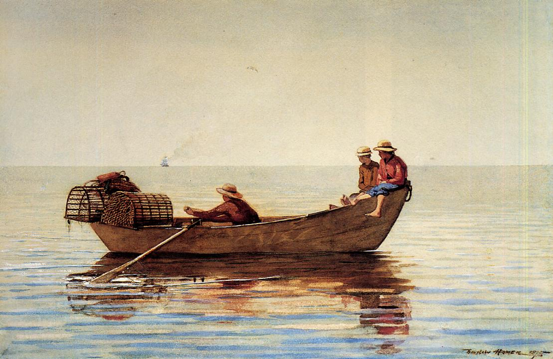 Three Boys in a Dory with Lobster Pots | Winslow Homer | oil painting
