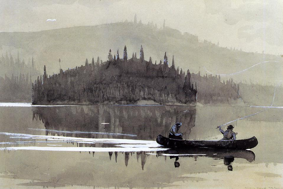 Two Men in a Canoe | Winslow Homer | oil painting