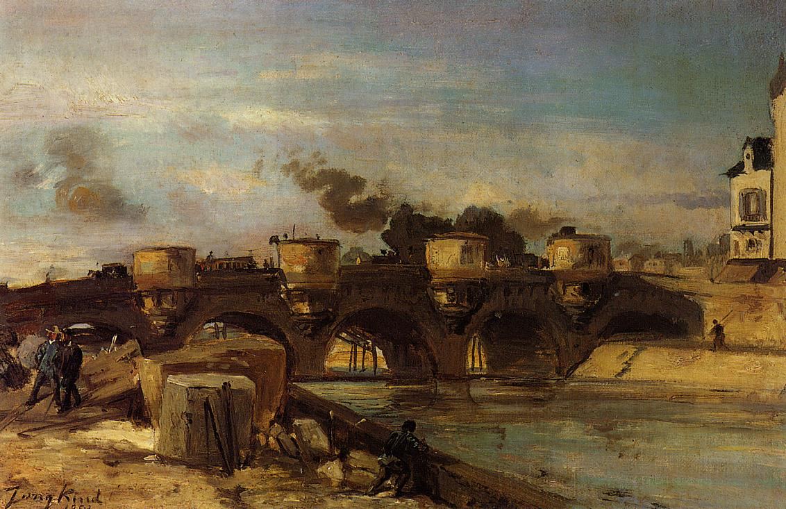 Fire on Pont Neuf | Johan Barthold Jongkind | oil painting