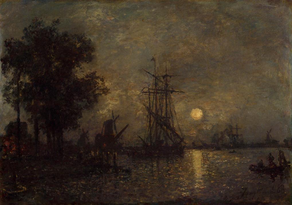 Holandaise Landscape with Docked Boat | Johan Barthold Jongkind | oil painting