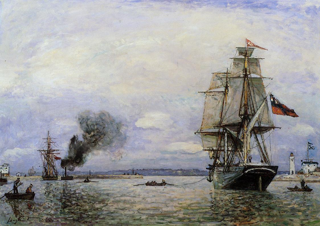 Leaving the Port of Honfleur | Johan Barthold Jongkind | oil painting
