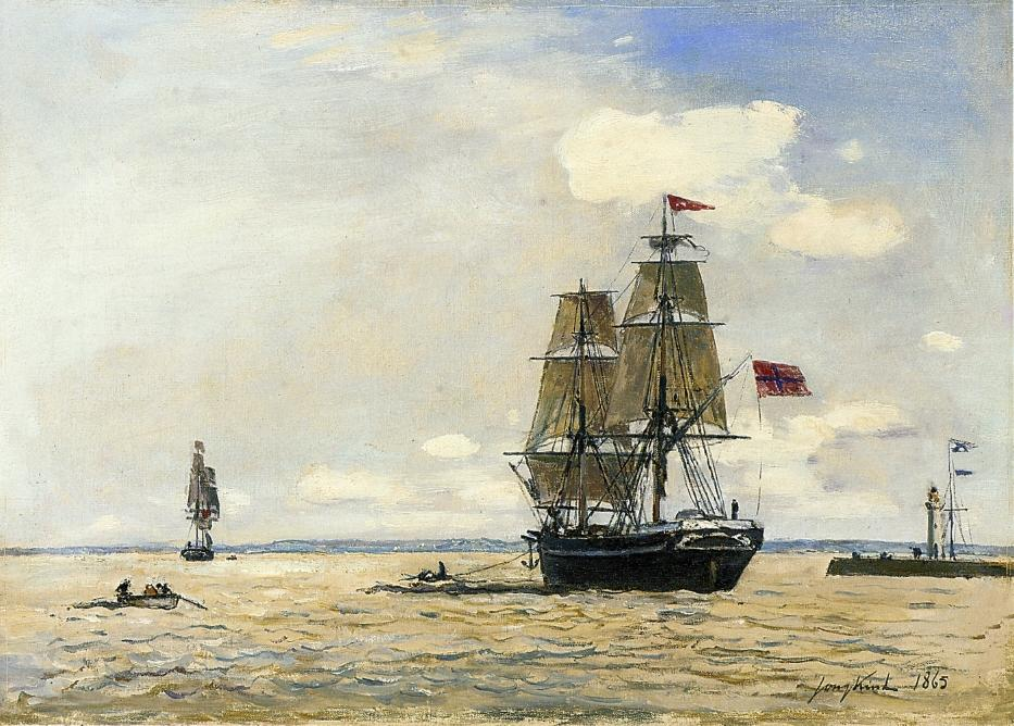 Norwegian Naval Ship Leaving the Port of Honfleur | Johan Barthold Jongkind | oil painting