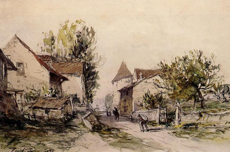 Peasants Returning to the Farm   Johan Barthold Jongkind   oil painting