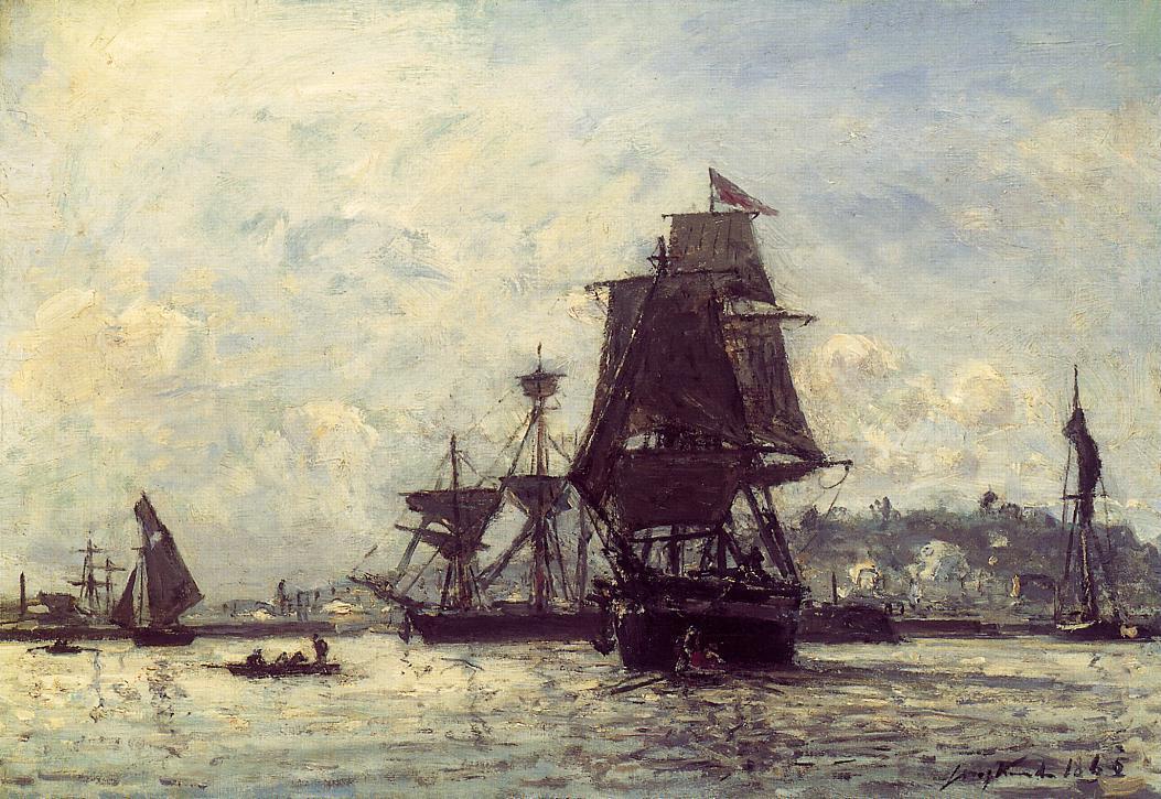Sailing Ships at Honfleur | Johan Barthold Jongkind | oil painting