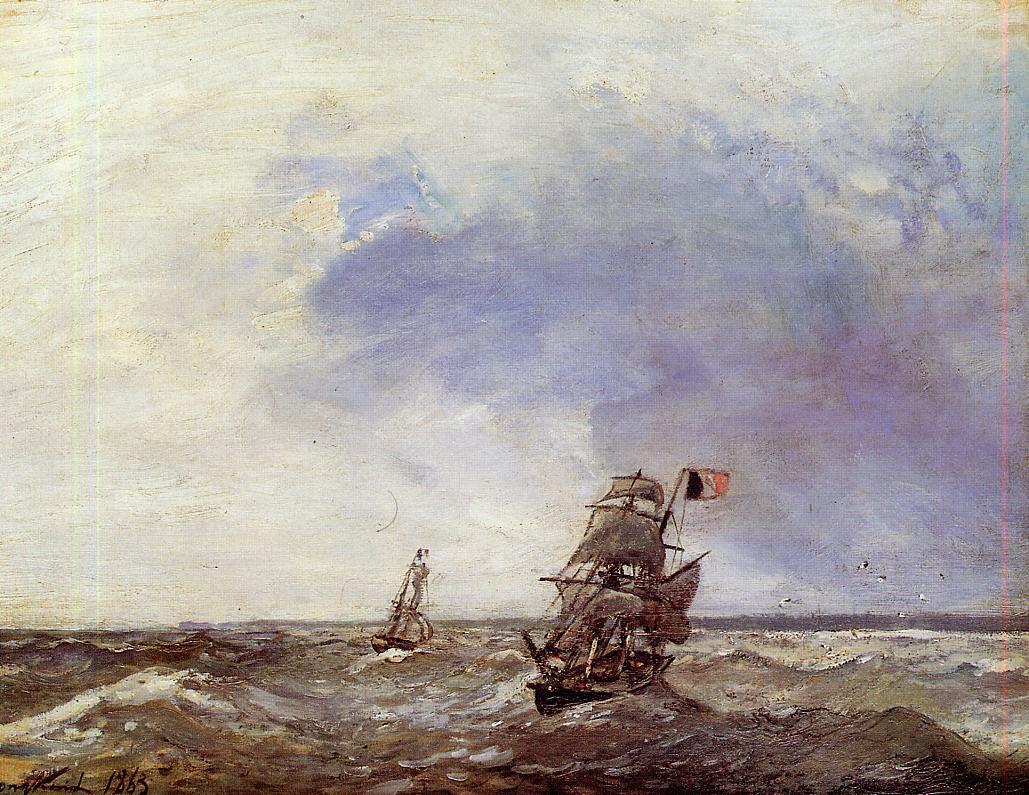Ships at Sea | Johan Barthold Jongkind | oil painting