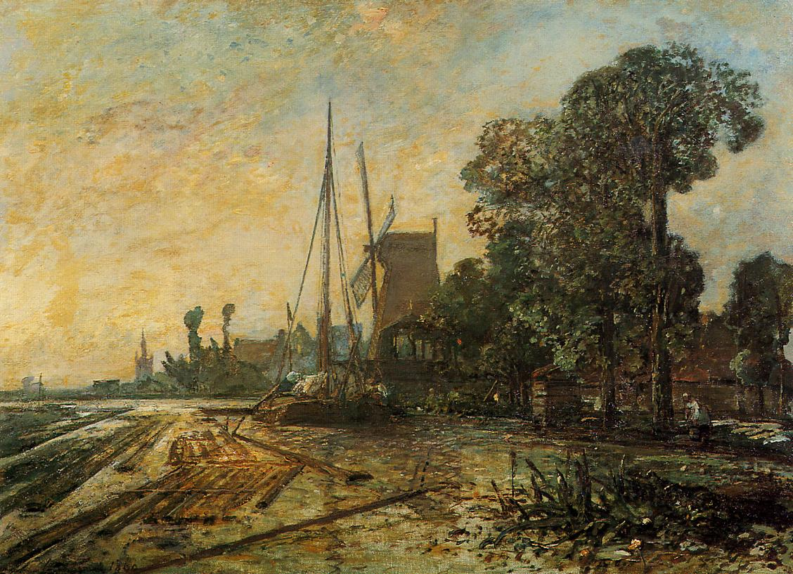 Windmill near the Water | Johan Barthold Jongkind | oil painting