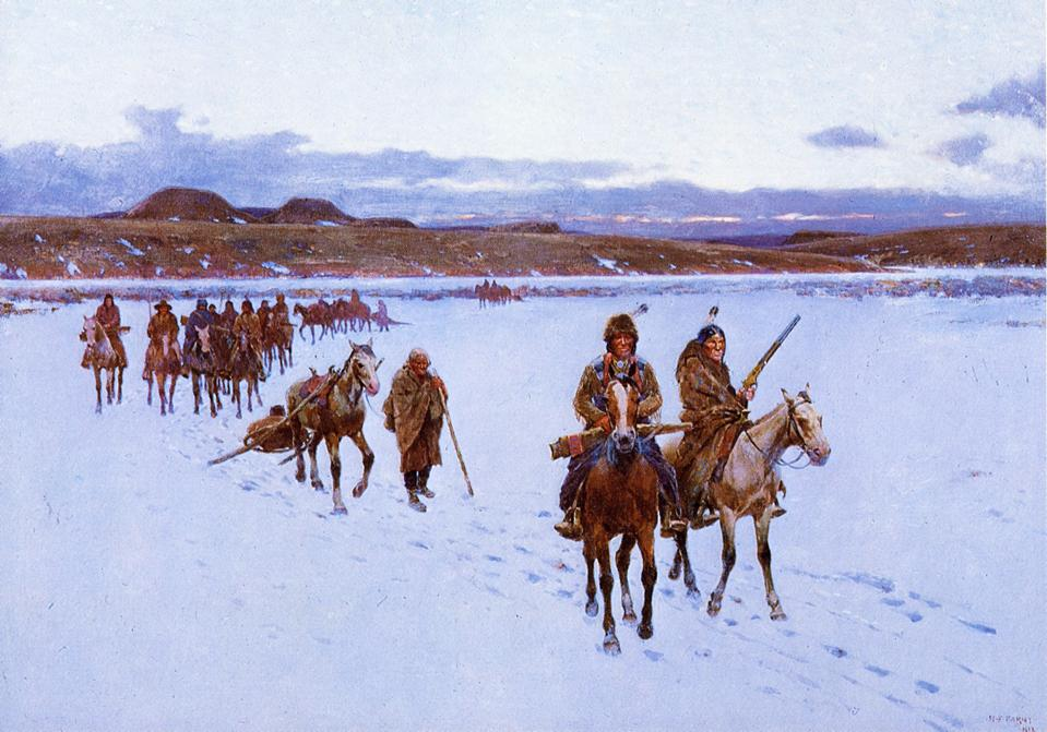 Departure for the Buffalo Hunt | Henry Farny | oil painting