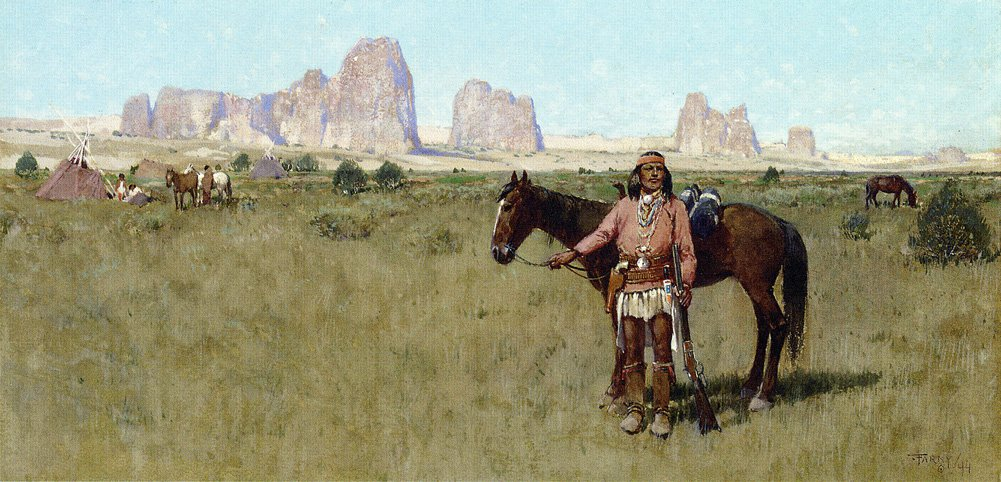 Warrior and Teepees | Henry Farny | oil painting