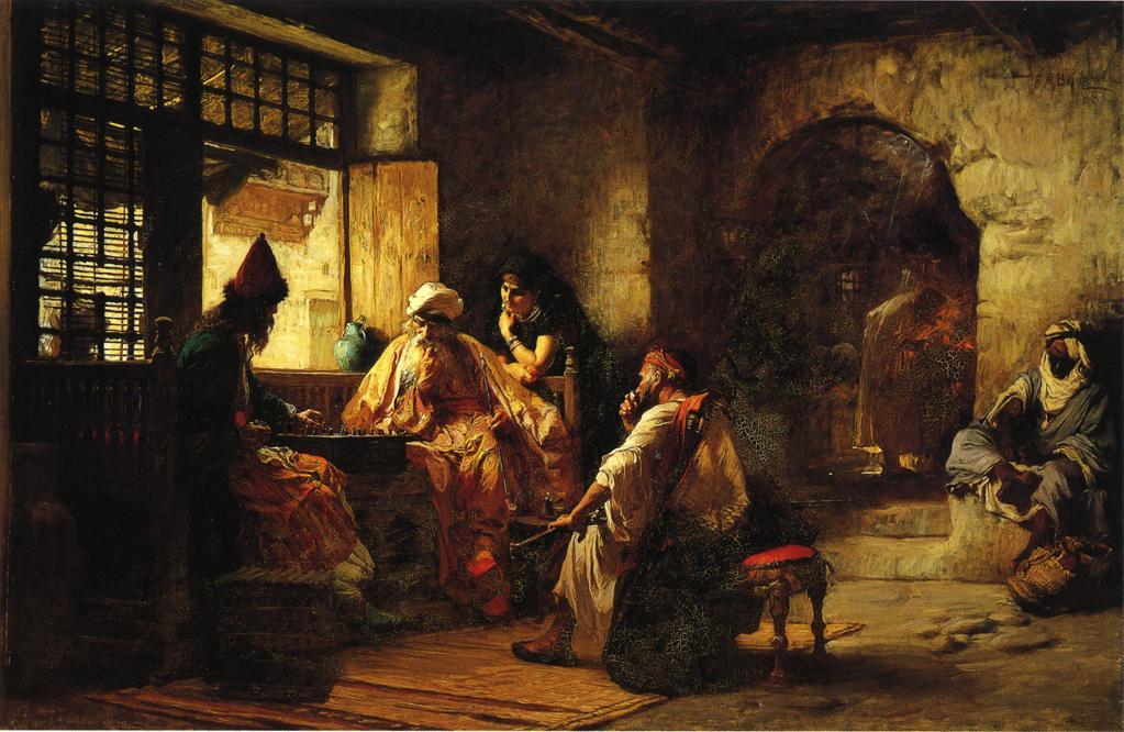 An Interesting Game | Frederick Arthur Bridgeman | oil painting