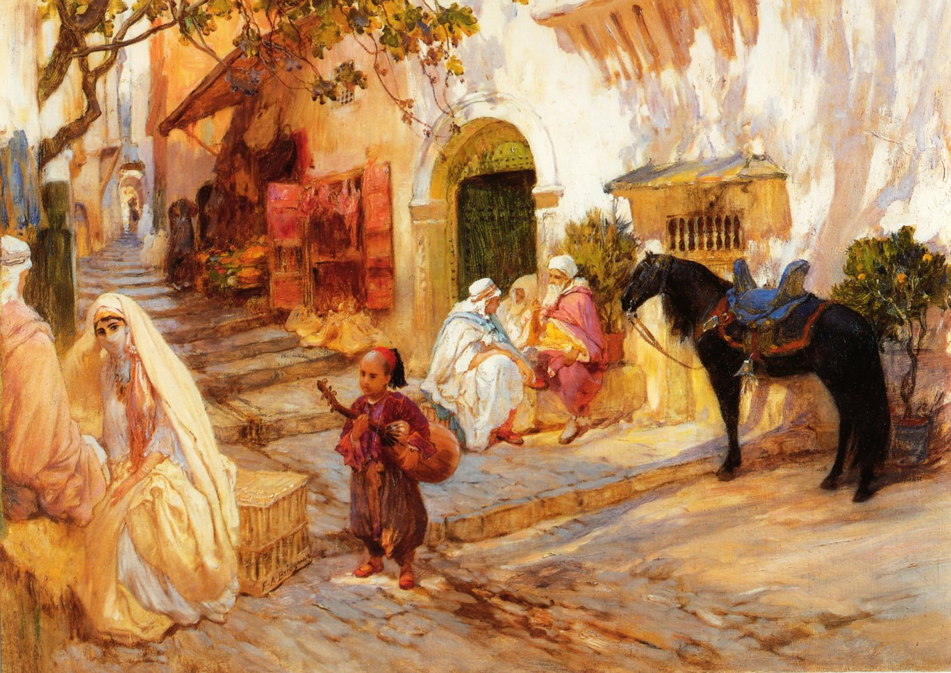 A Street in Algeria | Frederick Arthur Bridgeman | oil painting