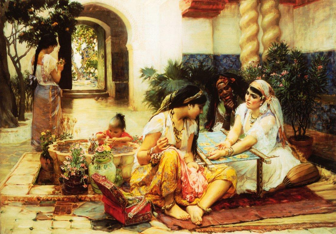 In a Village El Biar Algeria   Frederick Arthur Bridgeman   oil painting