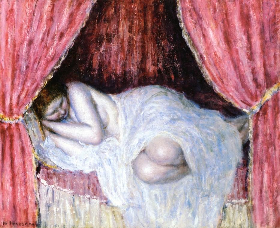 Nude Behind Red Curtains | Frederick Carl Frieseke | oil painting