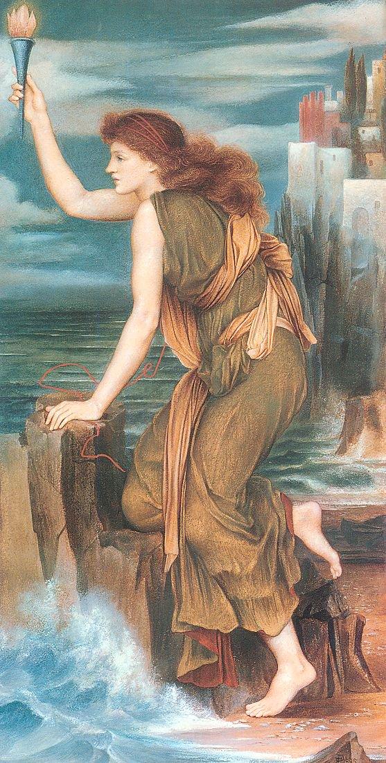 Hero Awaiting the Return of Leander   Evelyn de Morgan   oil painting