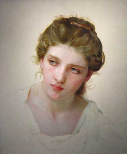 etude de Tete de Femme Blonde de Face (Study of the Head of a Blonde Woman) | William Bouguereau | oil painting
