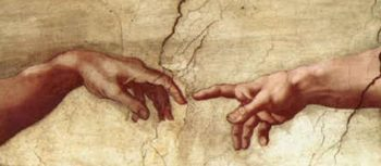 Creation of Adam Hands only   Michaelangelo   oil painting