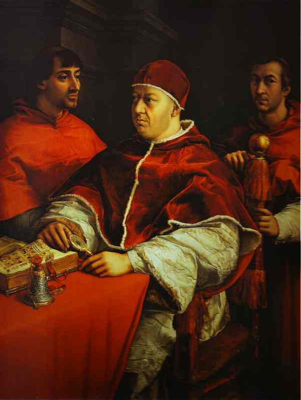 Portrait Of Pope Leo X With Cardinals Giulio De Medici And Luigi De Rossi 1513-1519 | Raphael | oil painting