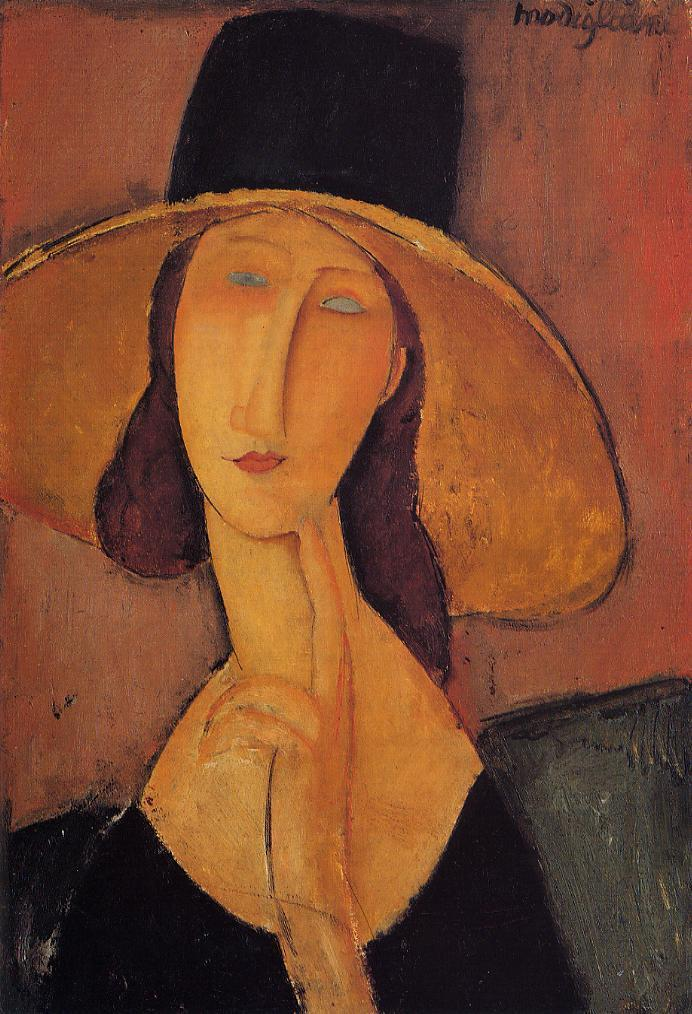 Jeanne Hebuterne in a Large Hat 1918 | Amedeo Modigliani | oil painting