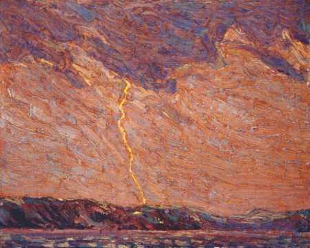 Lightning Canoe Lake | Tom Thompson | oil painting