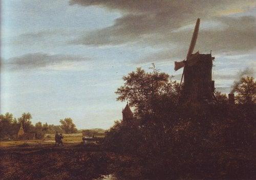 A windmill near fields | Jacob Van Ruisdael | oil painting