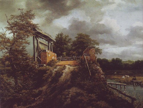 Brick bridge with a sluice | Jacob Van Ruisdael | oil painting