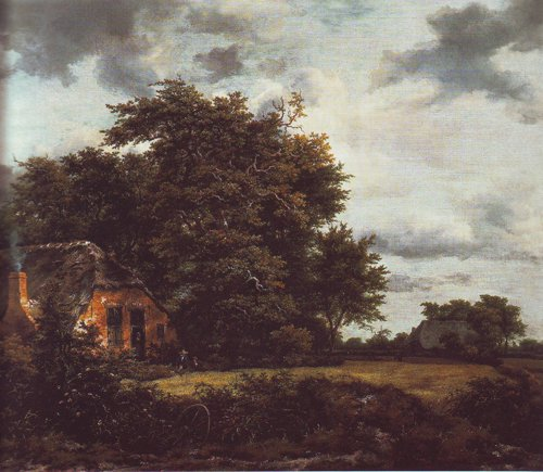 Cottage under trees near a grainfield | Jacob Van Ruisdael | oil painting