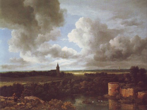 Extensive landscape with a ruined castle and a village church | Jacob Van Ruisdael | oil painting
