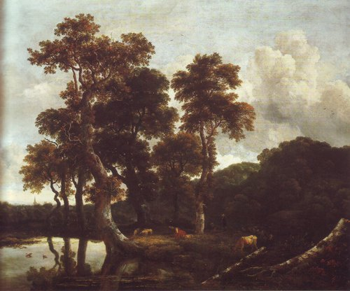 Grove of large oak trees at the edge of a pond | Jacob Van Ruisdael | oil painting
