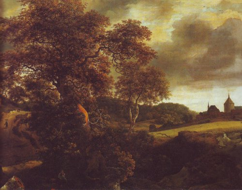 Hilly landscape with a great oak and a grainfield | Jacob Van Ruisdael | oil painting