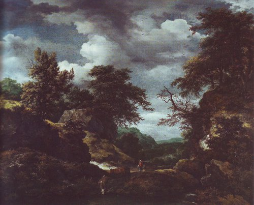 Hilly wooded landscape with cattle | Jacob Van Ruisdael | oil painting