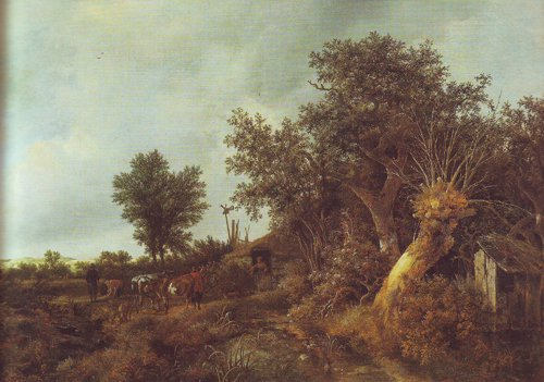 Landscape with a cottage and trees | Jacob Van Ruisdael | oil painting