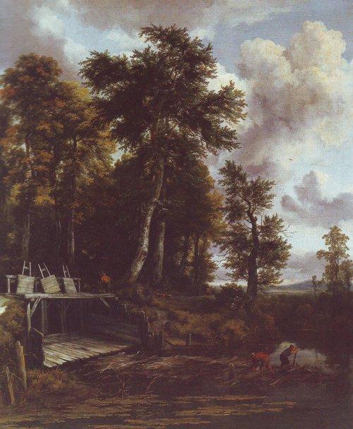 Landscape with a sluice gate | Jacob Van Ruisdael | oil painting