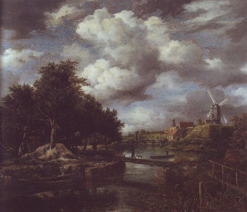 Landscape with a windmill near town moat | Jacob Van Ruisdael | oil painting