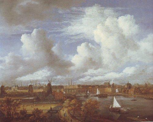 Panoramic view of the amstel looking towards amsterdam | Jacob Van Ruisdael | oil painting