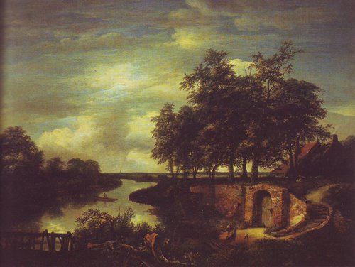 River landscape with the entrance to a vault | Jacob Van Ruisdael | oil painting