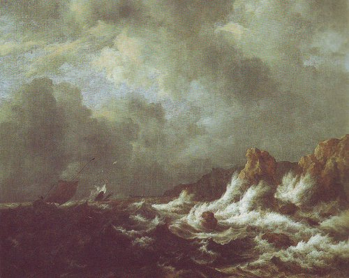 Rough sea with sailing vessels off a rocky coast | Jacob Van Ruisdael | oil painting