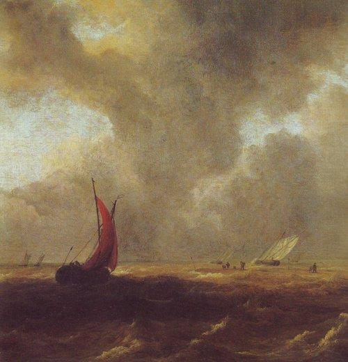 Sailing vessels in a choppy sea | Jacob Van Ruisdael | oil painting
