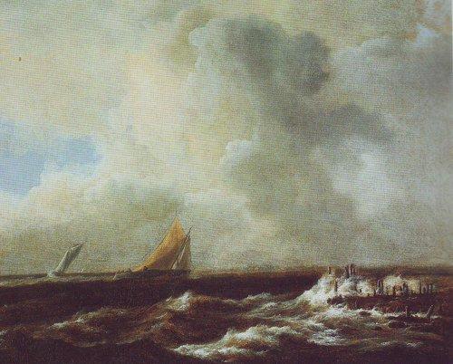 Sailing vessels in a fresh breeze | Jacob Van Ruisdael | oil painting