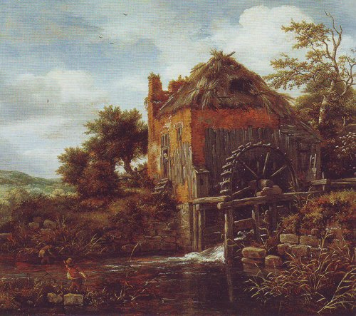 Thatch-roofedhouse with a water mill | Jacob Van Ruisdael | oil painting