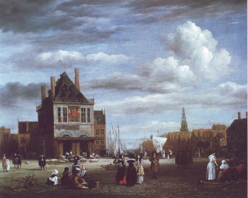 The dam with the weigh house at amsterdam | Jacob Van Ruisdael | oil painting